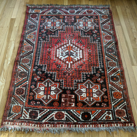 Persian Rug, 3' 7 x 5' 4 Brown Shiraz - Jessie's Oriental Rugs