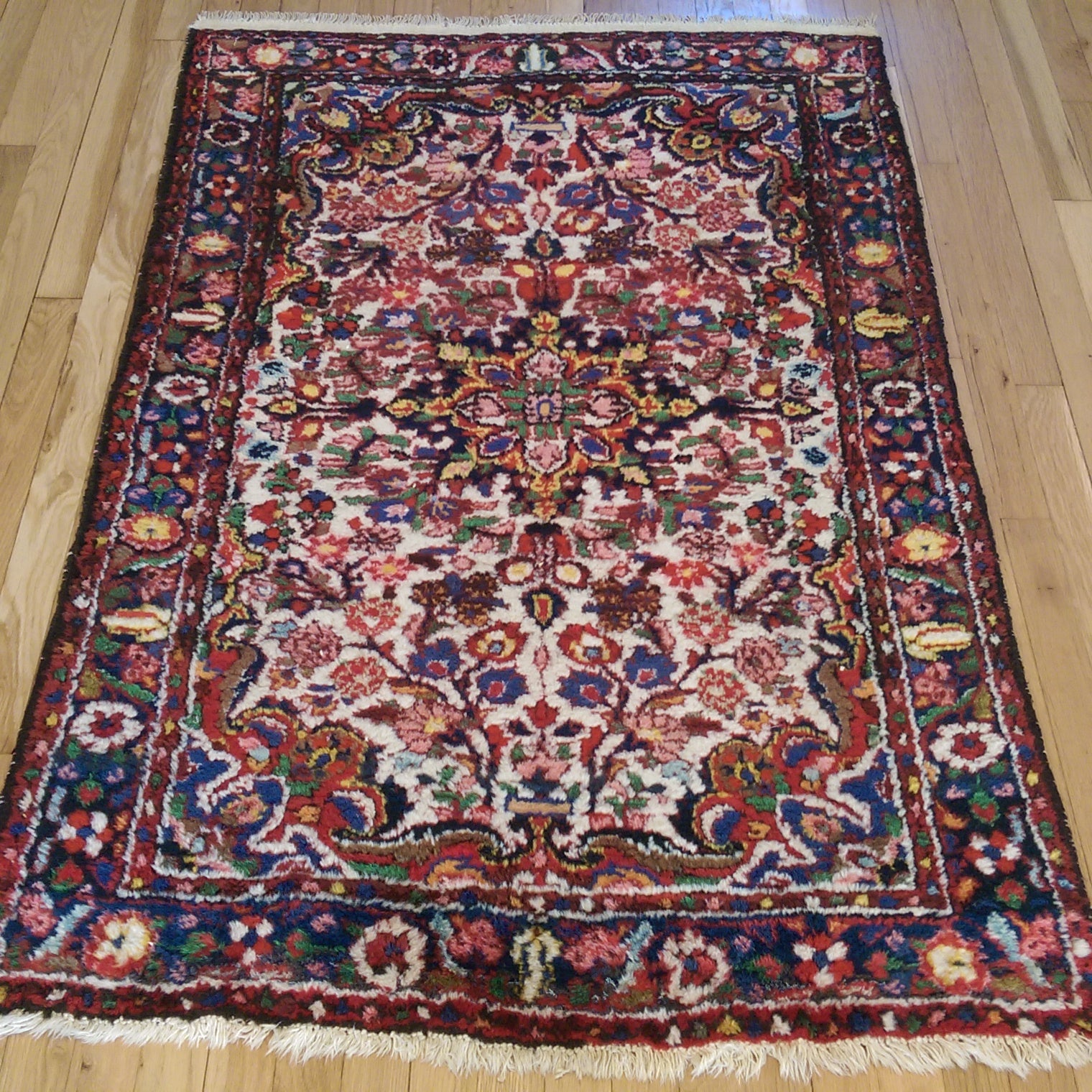 Persian Rug, 3' 5 x 5' 2 Ivory Borchelou - Jessie's Oriental Rugs