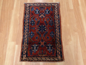 Antique Persian Rug, 1' 10 x 2' 10 Red Lilihan