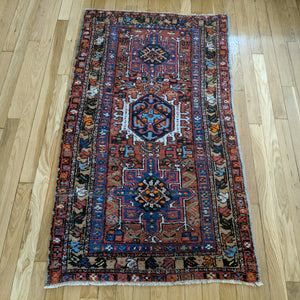 Vintage Rug, 2' 6 x 4' 6 Orange Brown Tribal - Jessie's Oriental Rugs