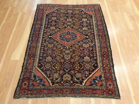 Antique Persian Rug, 3' 7 x 5' Blue Black Tajabad