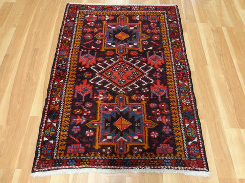 Persian Rug, 3' 4 x 4' 8 Dark Purple Black Karaja