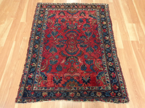Antique Persian Rug, 3' 7 x 4' 6 Dark Rose Pink Lilihan