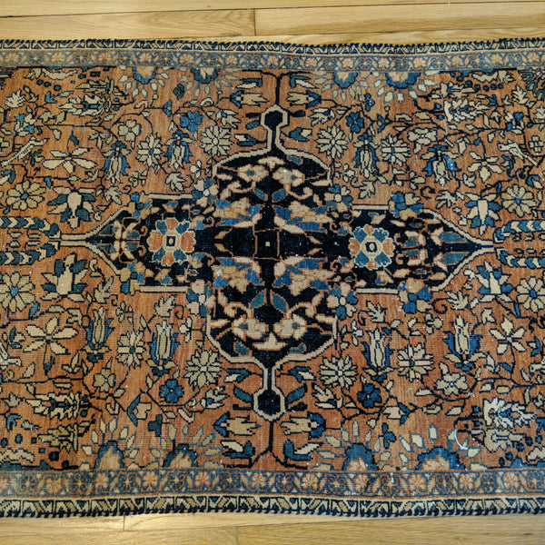 Antique Rug, 2' 8 x 5' 11 Orange Brown - Jessie's Oriental Rugs