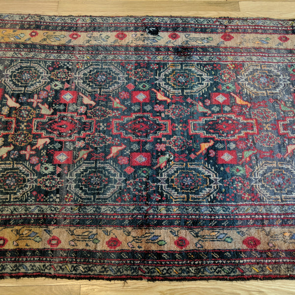 Vintage Rug, 3' 5 x 6' 5 Black Tribal
