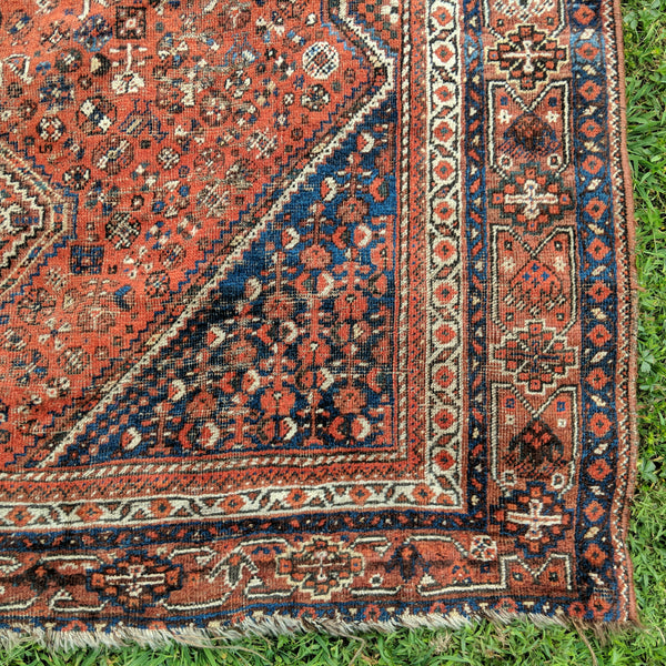 Vintage Rug, 7' 1 x 9' 10 Red Orange Tribal