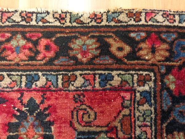 Antique Persian Rug, 3' 7 x 4' 6 Dark Rose Pink Lilihan - Jessie's Oriental Rugs