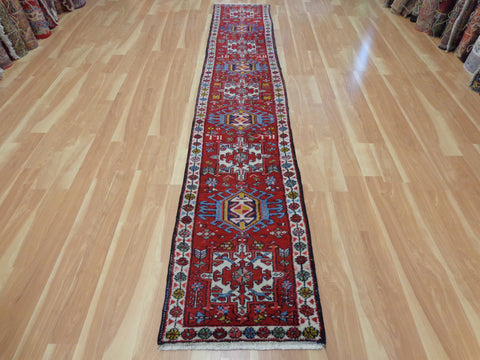 Persian Rug Runner, 2' 1 x 11' 7 Red Karaja