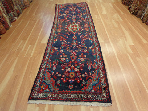 Persian Rug Runner, 3' 4 x 10' 9 Blue Hamedan