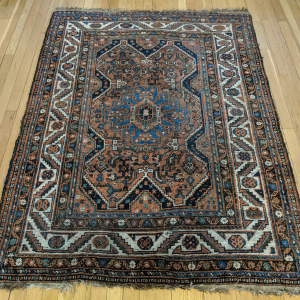Persian Rug, 4' 4 x 5' 9 Red Brown Qashqai