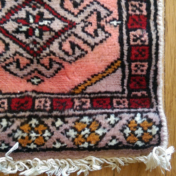 "Collectible Rug, 11"" x 13"" Pink Bokhara - Jessie's Oriental Rugs"
