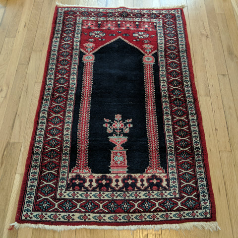 Vintage Rug, 2' 9 x 4' 4 Blue Prayer