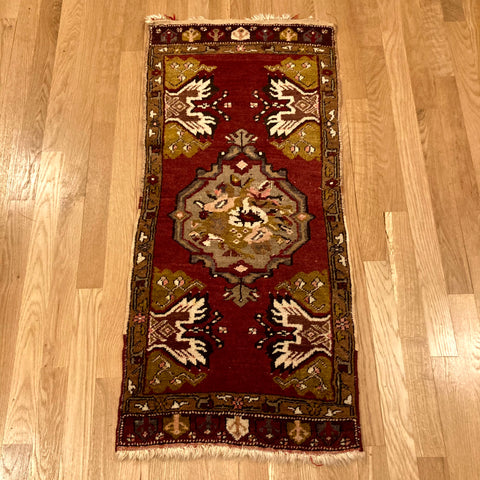 Vintage Rug, 1' 8 x 3' 8 Red Turkish