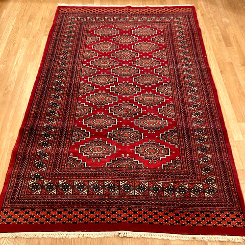 Pakistan Rug, 4' 3 x 6' 10 Red Bokhara
