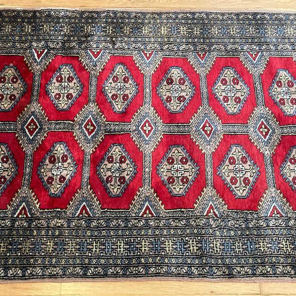 Pakistan Rug, 3' 1 x 5' 7 Red Bokhara