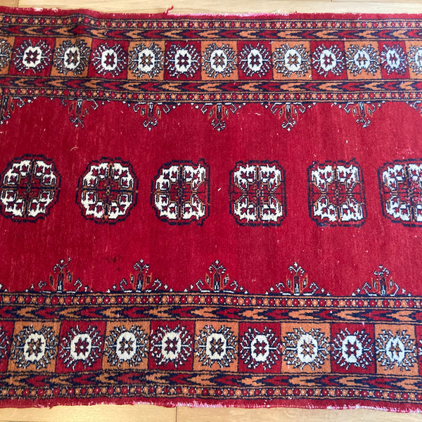 Pakistan Rug, 3' x 4' 11 Red Bokhara