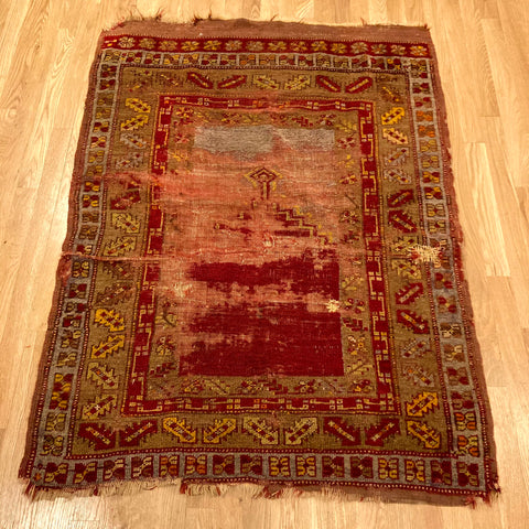 Antique Rug, 3' 5 x 4' 7 Red Turkish
