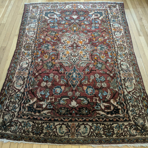 Persian Rug, 4' 9 x 6' 8 Red Bakhtiari