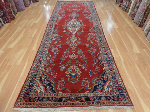 Persian Rug, 4' 8 x 13' 6 Red Hamedan