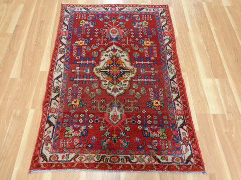 Persian Rug, 3' 4 x 4' 10 Red Hamedan