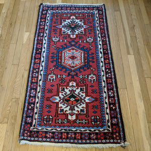 Indian Rug, 2' 6 x 4' 10 Red Karaja - Jessie's Oriental Rugs