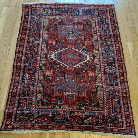 Vintage Rug, 3' 5 x 4' 8 Red Tribal