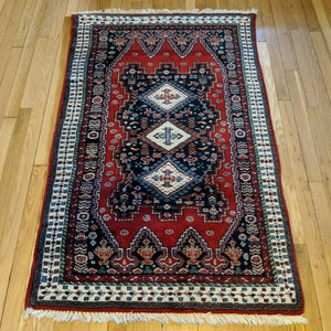 Indian Rug, 3' 2 x 5' 2 Red - Jessie's Oriental Rugs