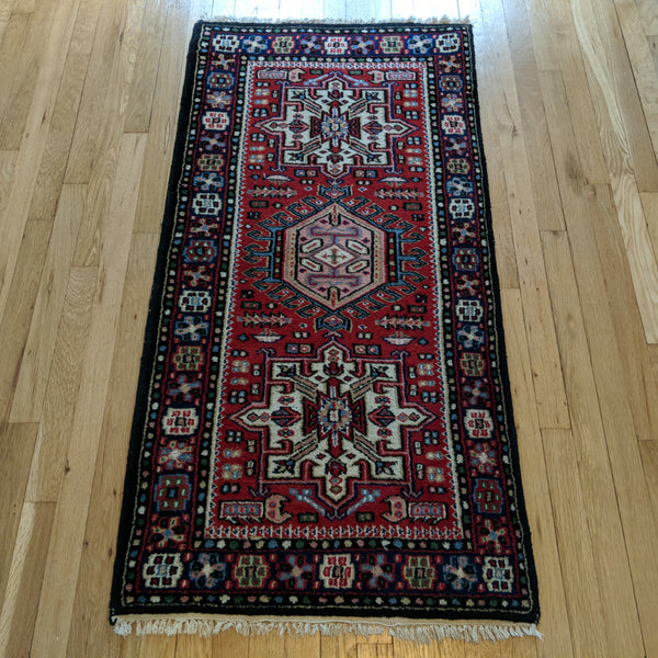 Indian Rug, 2' 4 x 4' 10 Red Karaja - Jessie's Oriental Rugs
