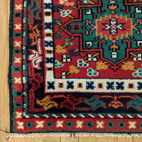 Indian Rug, 2' 5 x 7' 9 Red Karaja - Jessie's Oriental Rugs