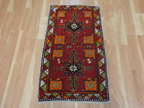 Turkish Rug, 2' x 3' 6 Red Yastik