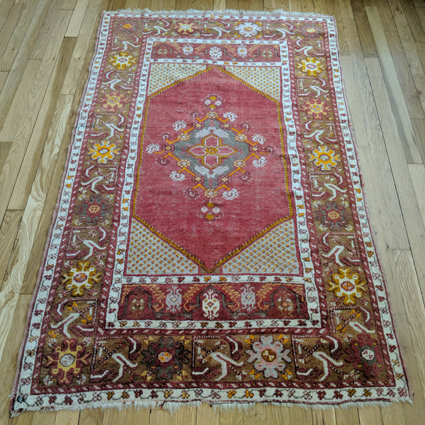 Turkish Rug, 3' 5 x 5' 8 Red Tribal