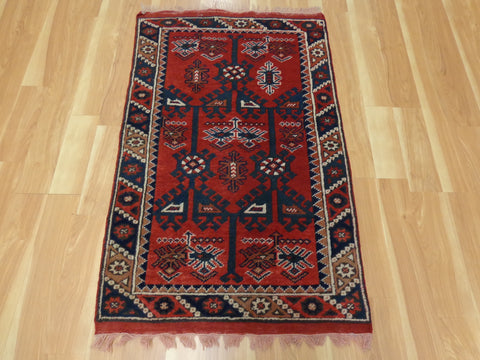 Turkish Rug, 2' 5 x 4' 2 Red Tribal