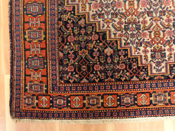 Persian Rug  3' 9 x 5' Blue Senneh