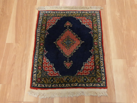 Persian Rug, 1' 9 x 2' 4 Blue Senneh