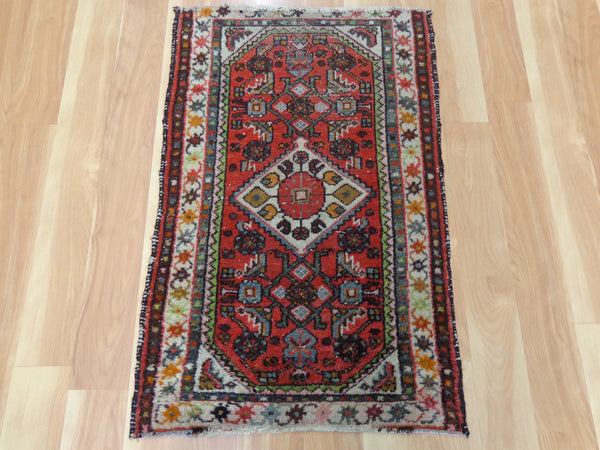 Persian Rug, 1' 11 x 3' Red Hamedan
