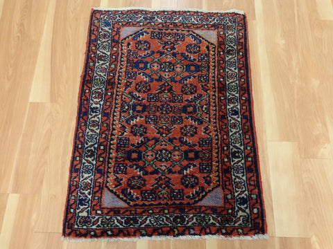 Persian Rug, 2' x 2' 9 Red Hamedan