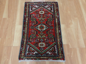 Persian Rug, 1' 9 x 3' Red Hamedan