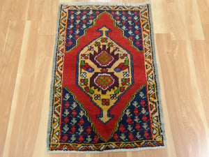 Turkish Rug, 2' x 3' 1 Blue Yastik