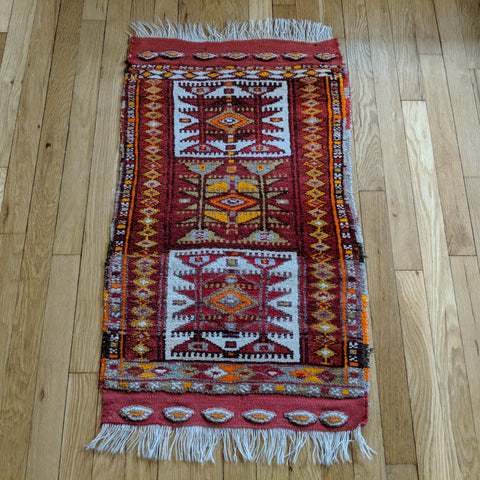 Turkish Rug, 1' 9 x 3' 3 Red Yastik - Jessie's Oriental Rugs