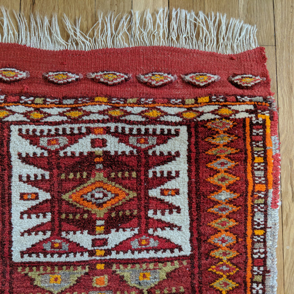 Turkish Rug, 1' 9 x 3' 3 Red Yastik