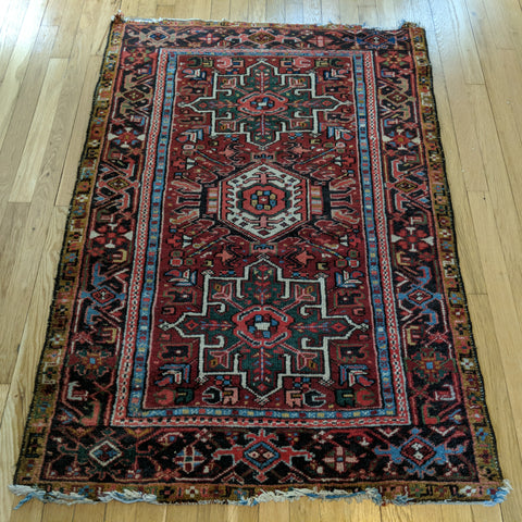 Vintage Rug, 3' 2 x 4' 7 Red Tribal