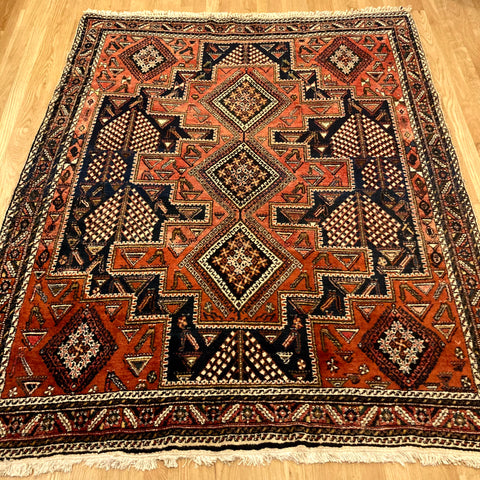 Vintage Rug, 5' x 6' 4 Red Tribal