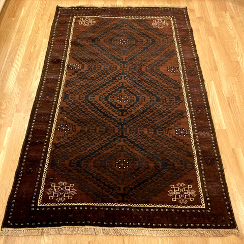 Vintage Rug, 3' 10 x 6' 4 Brown Tribal