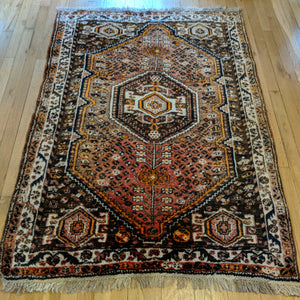 Vintage Rug, 3' 9 x 5' 4 Brown Tribal