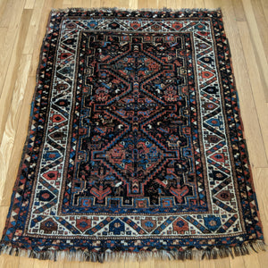 Vintage Rug, 3' 5 x 4' 7 Blue Tribal