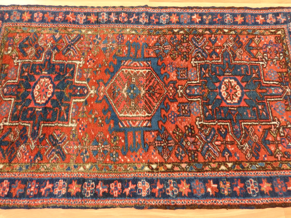 Persian Rug, 2' 5 x 4' 3 Red Orange Karaja