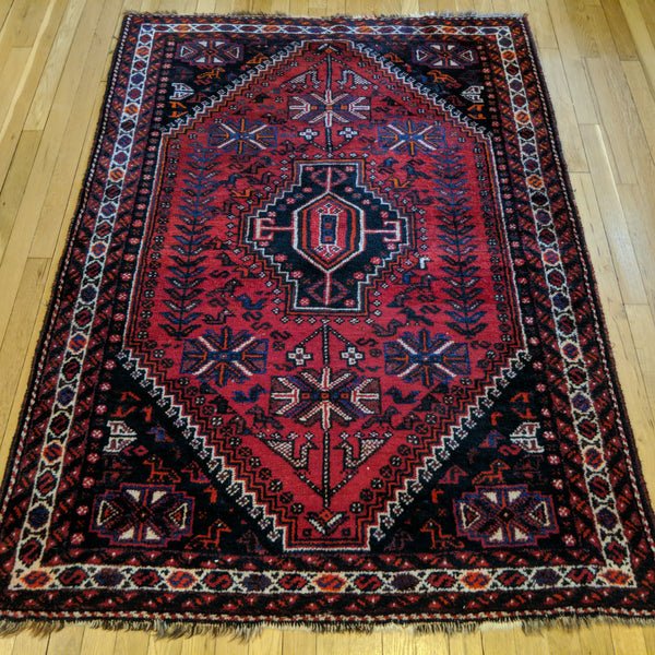 Persian Rug, 4' 2 x 5' 11 Red Tribal - Jessie's Oriental Rugs