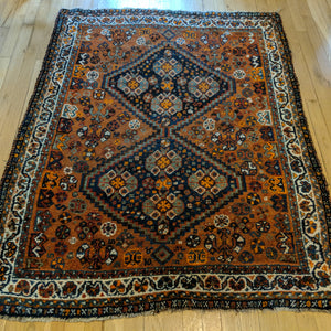 Vintage Rug, 4' x 5' Brown Tribal