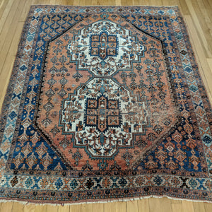 Persian Rug, 4' 8 x 5' 11 Blue Afshar