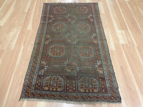 Tribal Rug, 3' 6 x 6' Brown Afghan